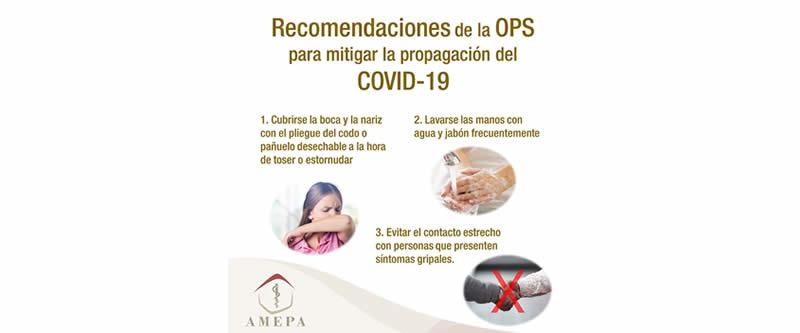 Recomendaciones de la OPS para mitigar la propagación del COVID-19